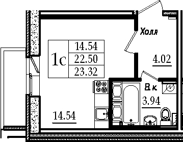 Студия, 25.23 м²