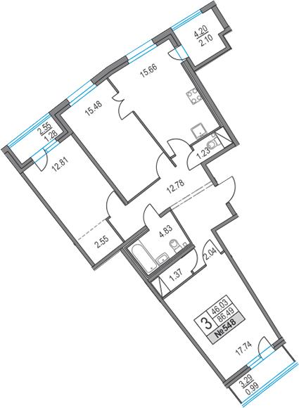 4Е-комнатная, 86.49 м²– 2