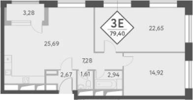 3-к.кв (евро), 81.51 м²