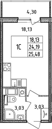 Студия, 24.19 м²