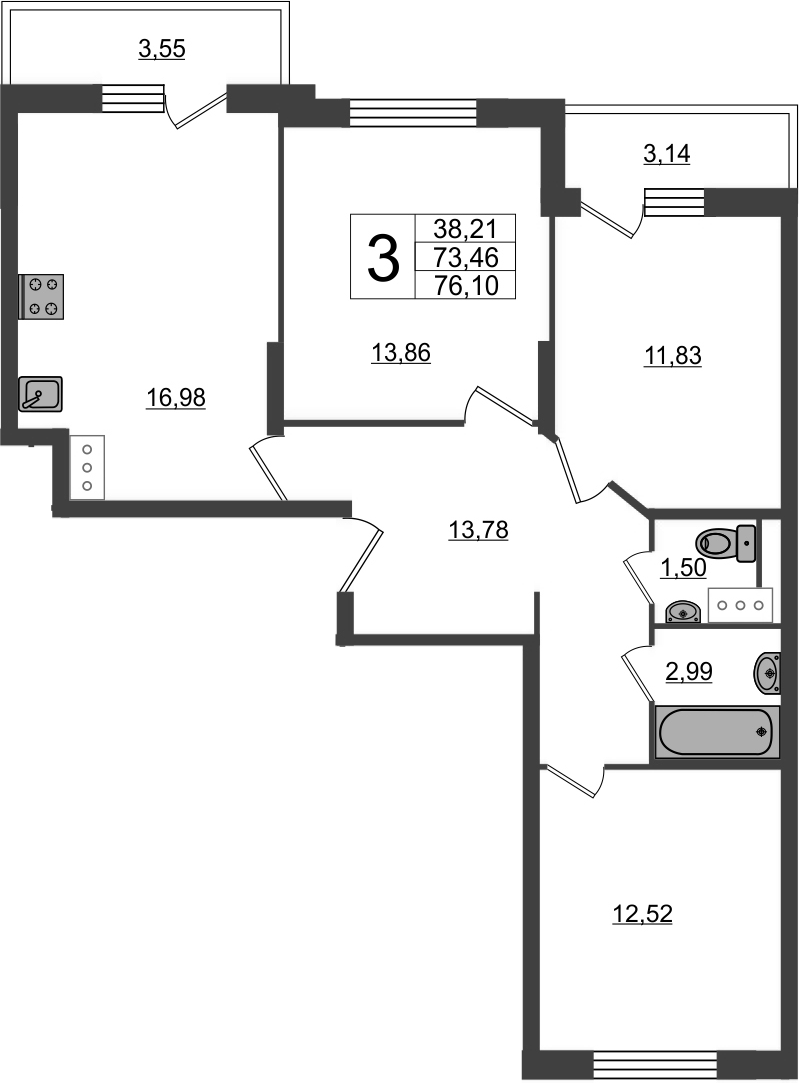 3-к.кв, 80.15 м²