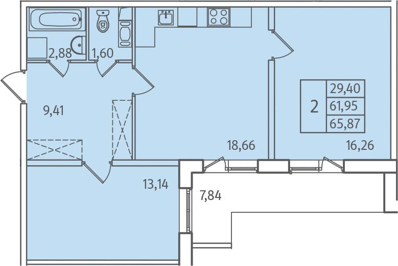 3-к.кв (евро), 69.79 м²