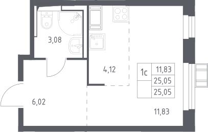 Студия, 25.05 м², от 9 этажа