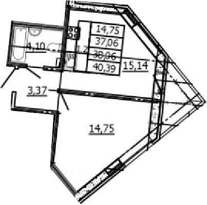 2Е-к.кв, 37.06 м²
