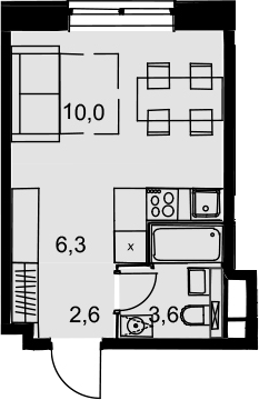 Студия, 22.5 м²– 2