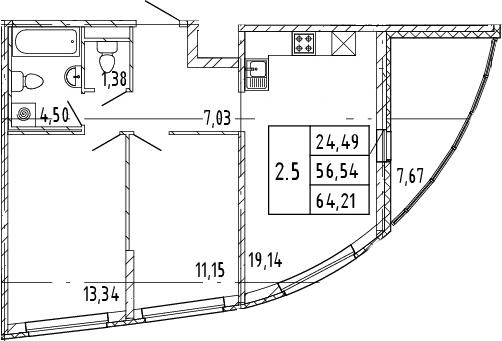 3Е-комнатная, 56.54 м²– 2