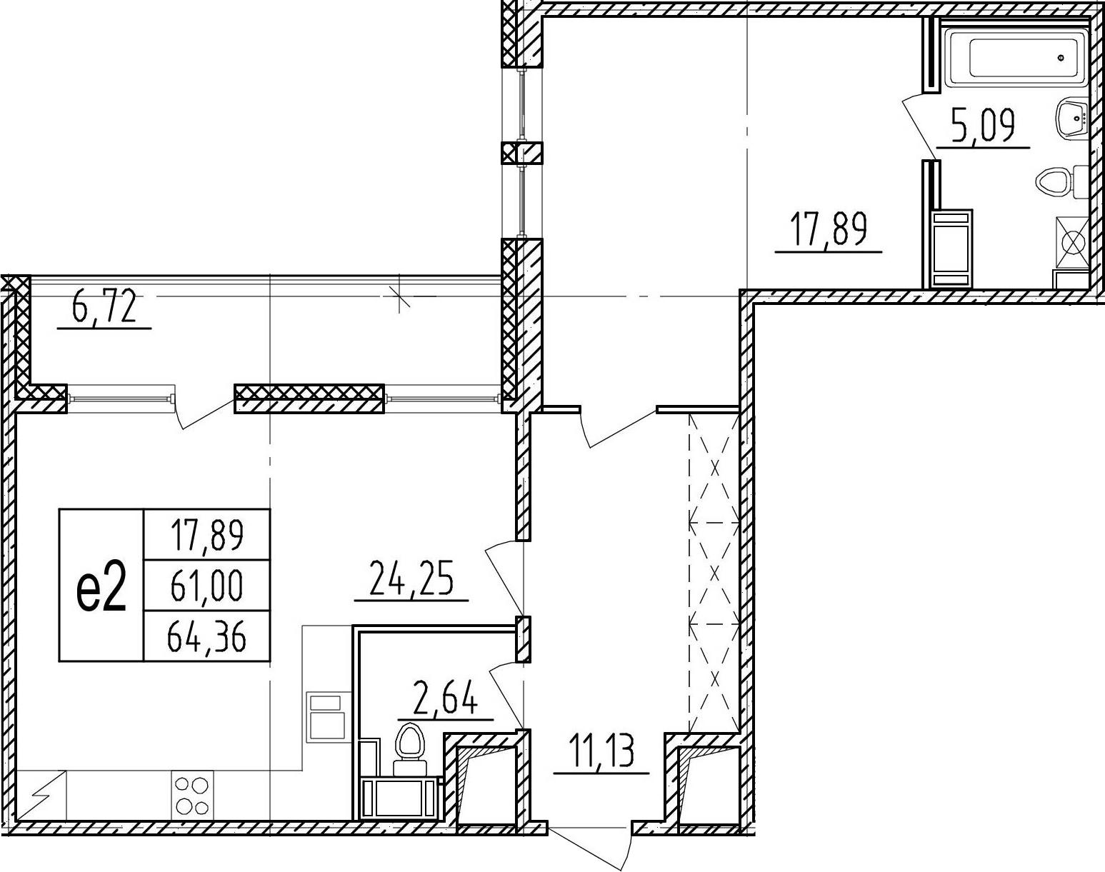2-к.кв (евро), 67.72 м²