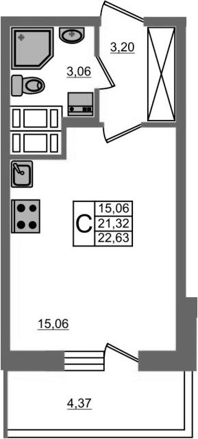 Студия, 21.32 м²