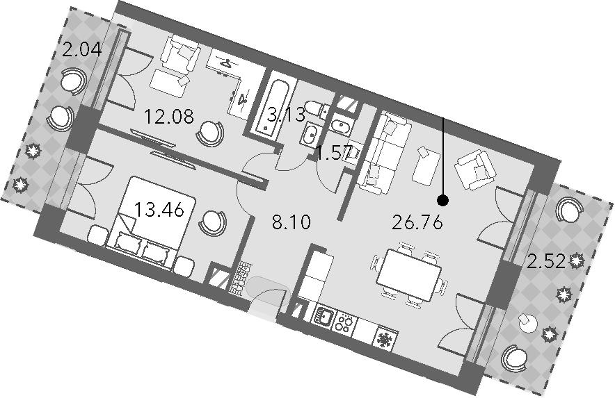 3Е-комнатная, 69.66 м²– 2
