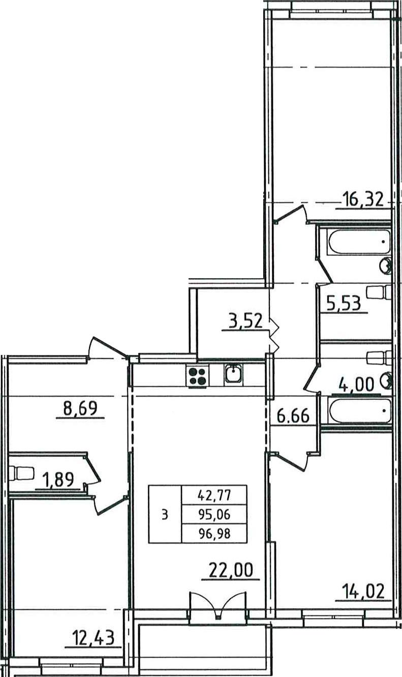 4-к.кв (евро), 98.9 м²
