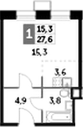 Студия, 27.6 м²– 2