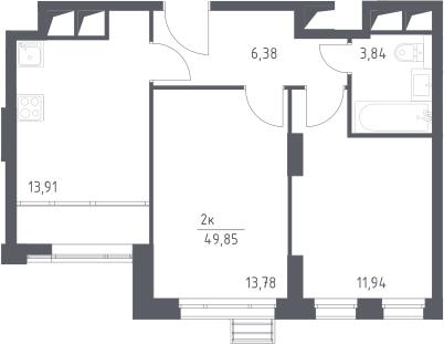 2-к.кв, 49.85 м²