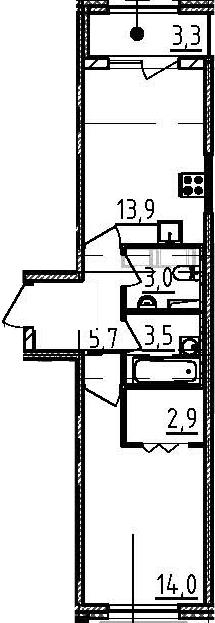 1-к.кв, 46.4 м²