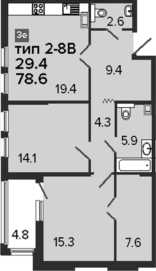 3-к.кв (евро), 83.4 м²