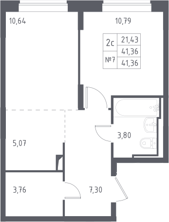 2Е-к.кв, 41.36 м², от 13 этажа