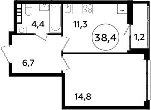 1-к.кв, 38.4 м²
