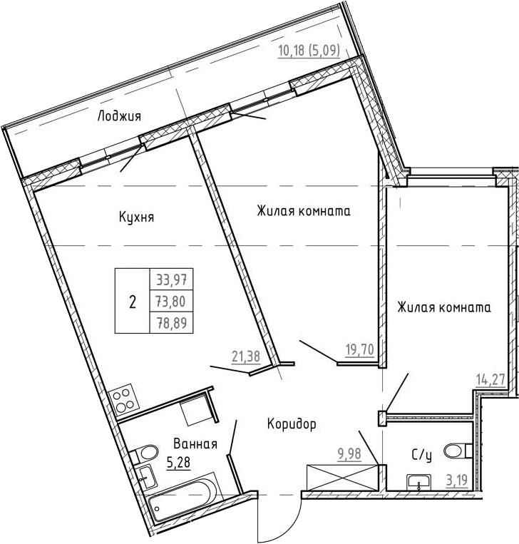3Е-к.кв, 78.89 м², 1 этаж