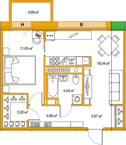 2Е-к.кв, 45.54 м²