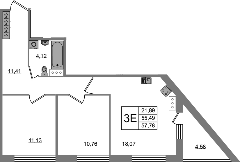 3-к.кв (евро), 60.07 м²