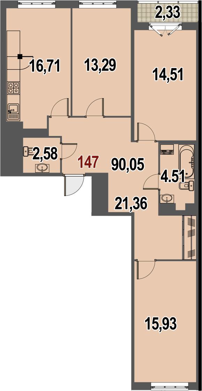 4-к.кв (евро), 91.21 м²