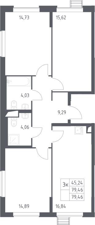 3-комнатная, 79.46 м²– 2