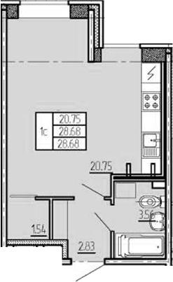 Студия, 28.68 м²– 2
