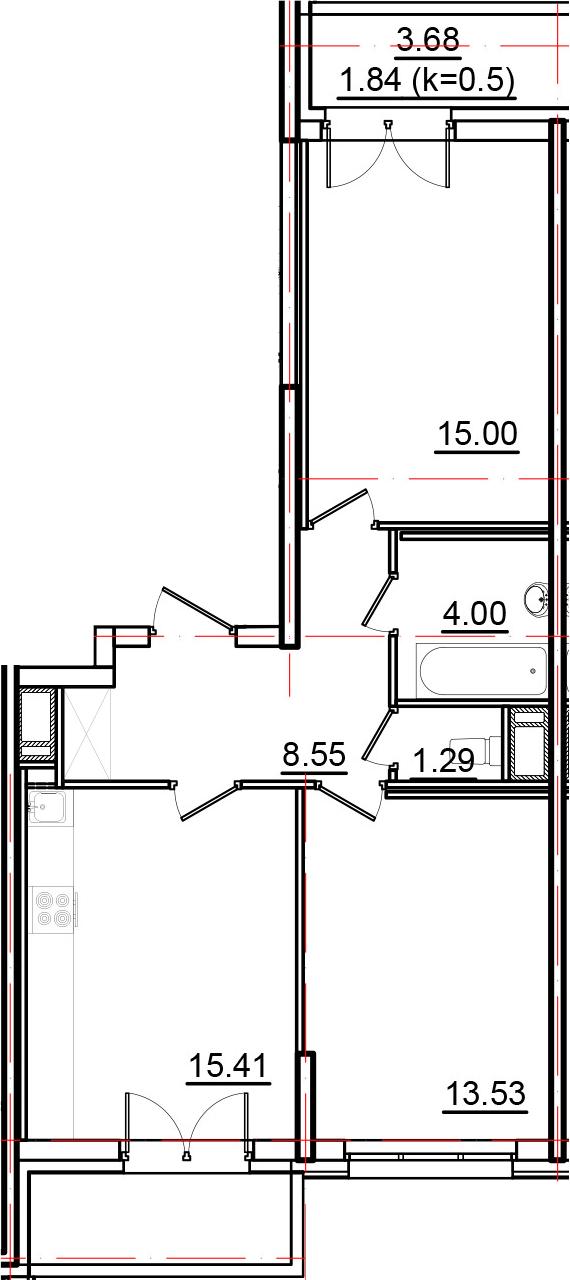 3Е-к.кв, 61.62 м², от 3 этажа