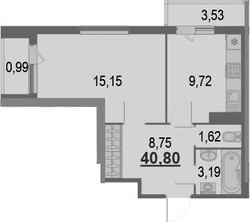 1-комнатная, 40.8 м²– 2