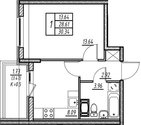 1-к.кв, 28.61 м²