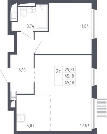 2Е-комнатная, 45.18 м²– 2