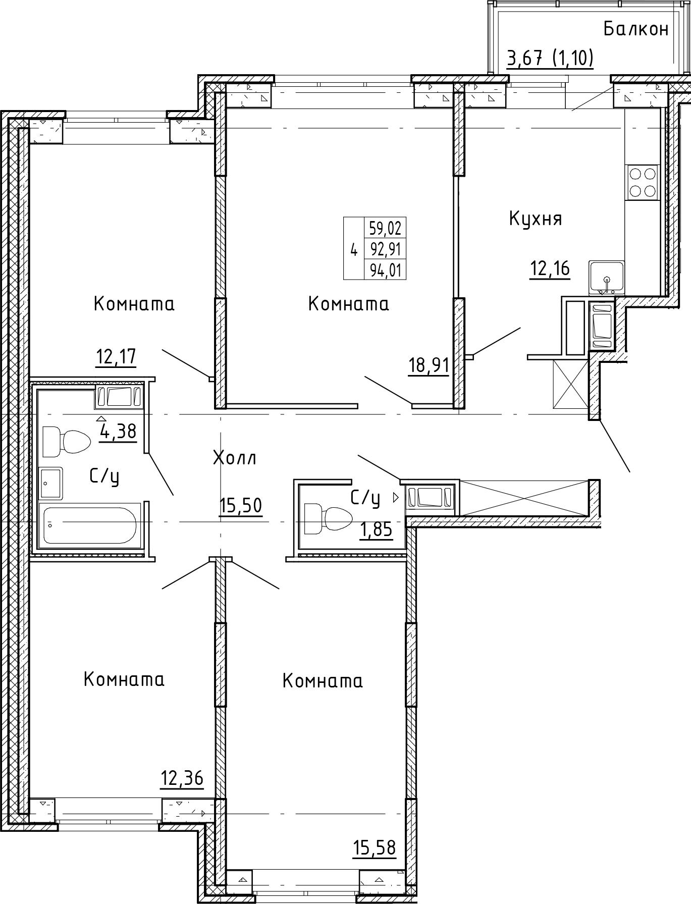 4-к.кв, 96.58 м²