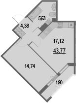 2-к.кв (евро), 45.67 м²