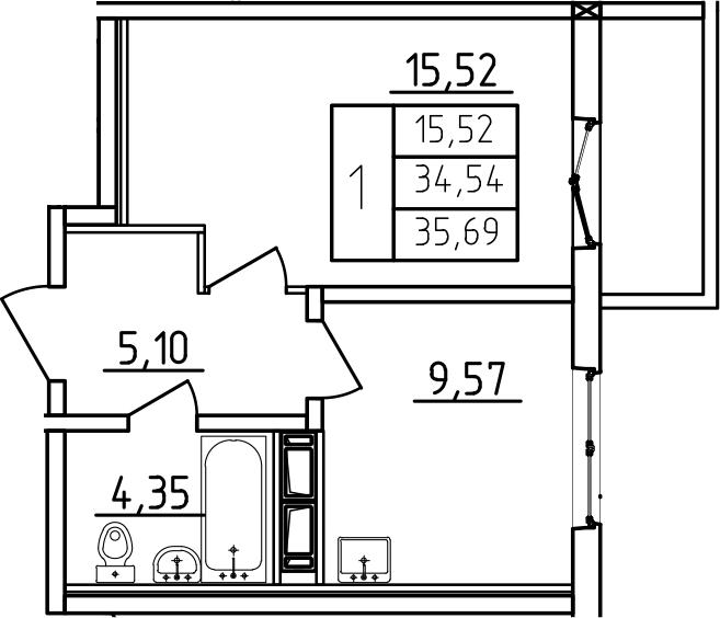 1-к.кв, 35.69 м², от 3 этажа