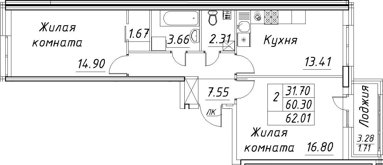 2-к.кв, 63.72 м²
