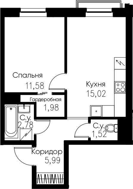 2Е-комнатная, 38.87 м²– 2