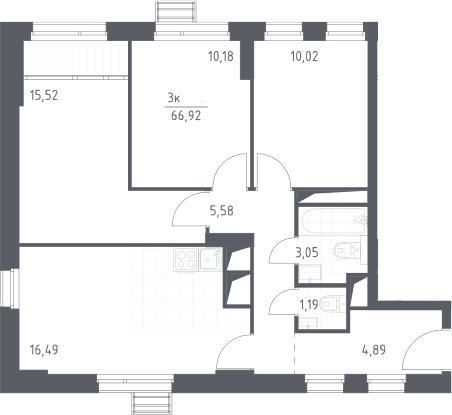 4-к.кв (евро), 66.92 м²
