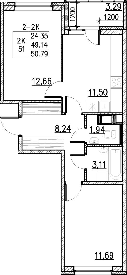 2-к.кв, 50.79 м²