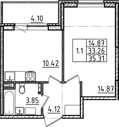 1-к.кв, 35.31 м²
