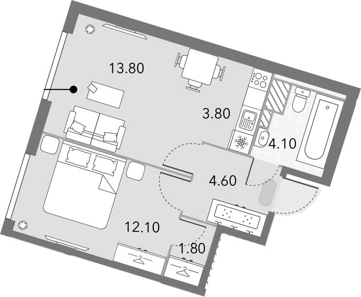 2Е-комнатная, 40.2 м²– 2