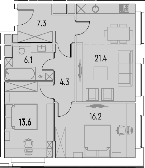 3Е-к.кв, 68.9 м²