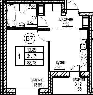 1-к.кв, 34.29 м²
