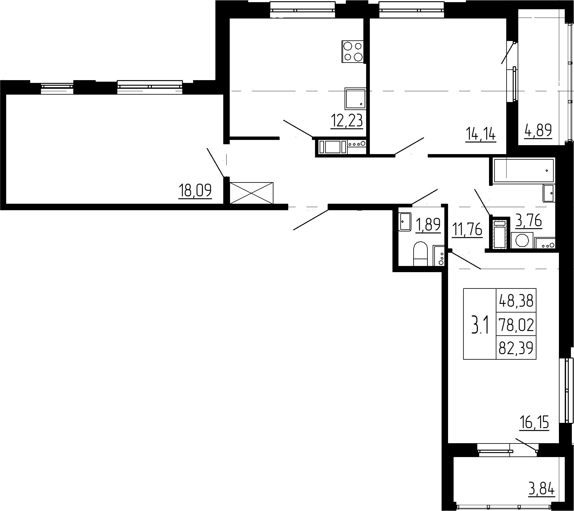 3-комнатная, 78.02 м²– 2