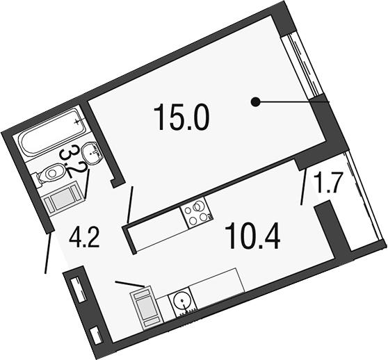 1-к.кв, 34.5 м²