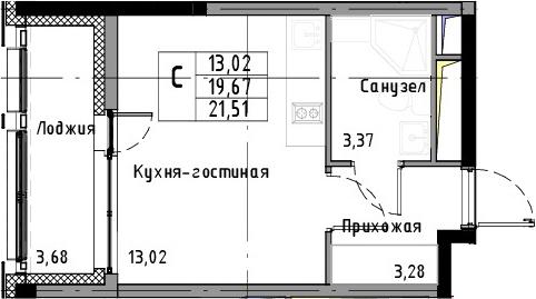 Студия, 21.51 м², 3 этаж