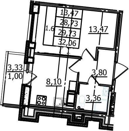 1-к.кв, 32.06 м²