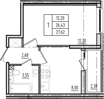 1-к.кв, 28.81 м²