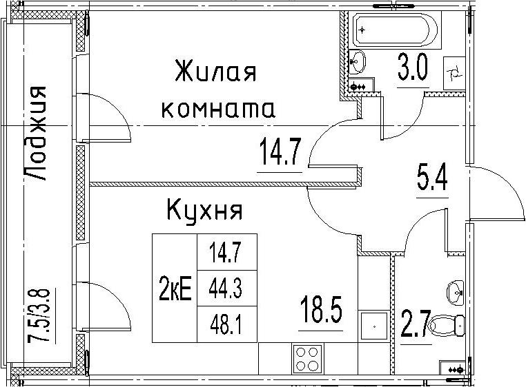 2Е-к.кв, 48.1 м²