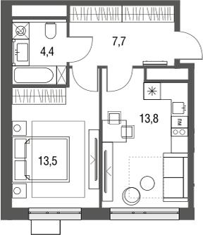1-к.кв, 39.4 м²