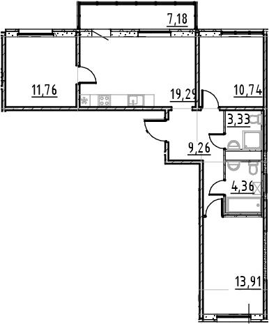4Е-к.кв, 72.65 м²