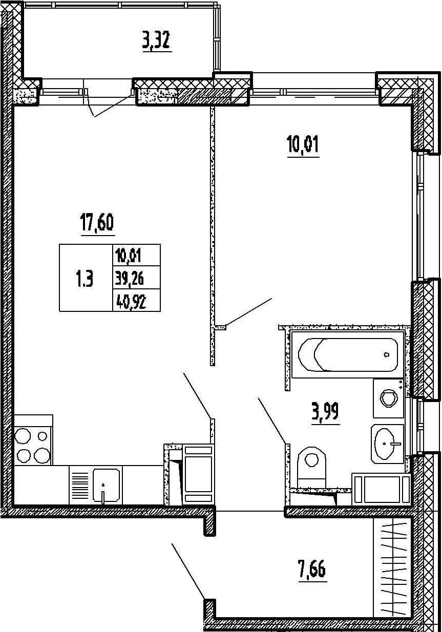 2Е-к.кв, 39.26 м²